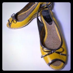 Ralph Lauren Yellow Peep Toe Wedge Sandals